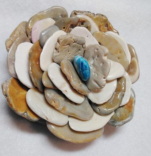 Seashell Flower | Paperweight | Apatite | Wampum | Quahog Shells