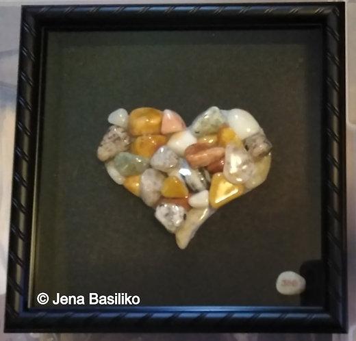 Stone Art | Pebble Art | Framed Heart made of Stones