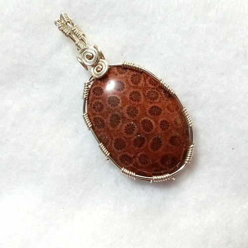Red Petoskey Stone Wire Wrapped Fossil Pendant