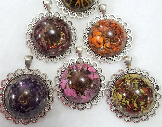 Flower Pendant | Made with REAL flowers | Free Chain