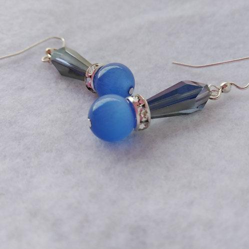 Blue Cat Eye Earrings, front view