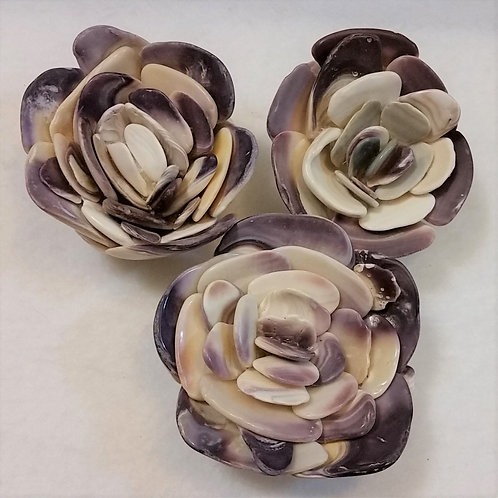 Shell Flower | Purple and White | Paperweight | Quahog Shells