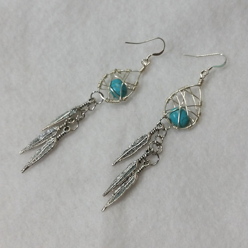 Turquoise | Blue | Wire Wrapped Earring