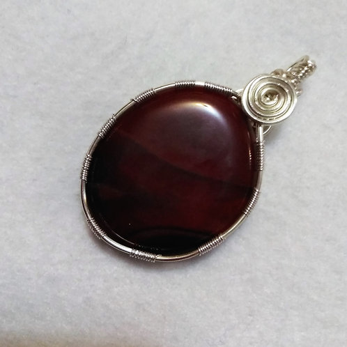 Carnelian | Dark Red | Wire Wrapped Pendant | Reversible (1)