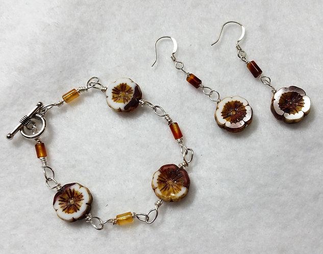Czech Glass | Earth Tone | Wire Wrapped Jewelry | Earrings | Bracelet