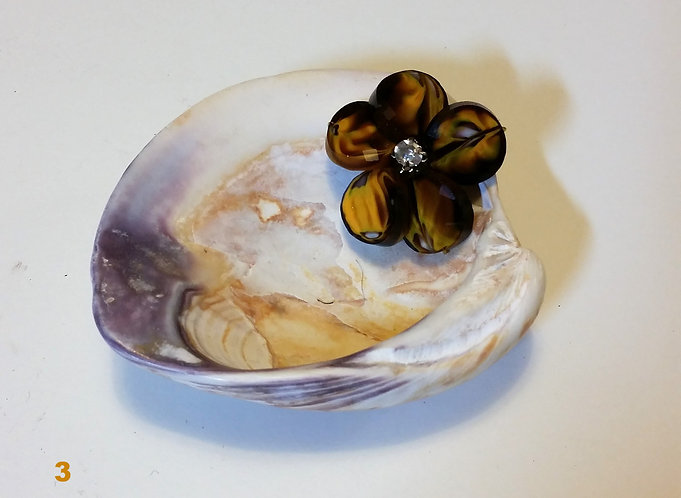 Gold Shell Tray | Colorful Flower | Home Decor