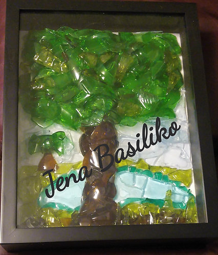 Glass Art | 2 Trees 1 pond | 12 x 15 inches