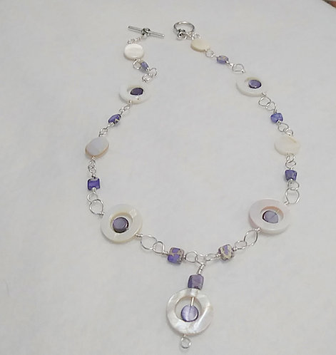 Purple Wire Wrapped Shell / Stone Necklace
