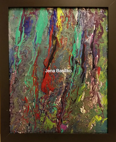 Framed Abstract Painting by Artist Jena Basiliko