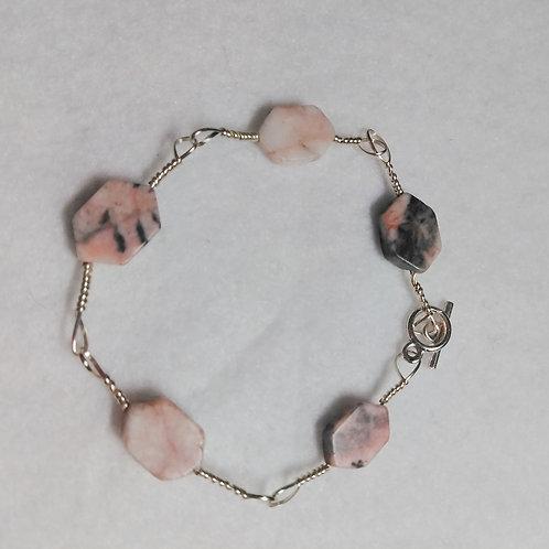 Bracelet | Pink Hexagon Stone Bracelet | Jewelry