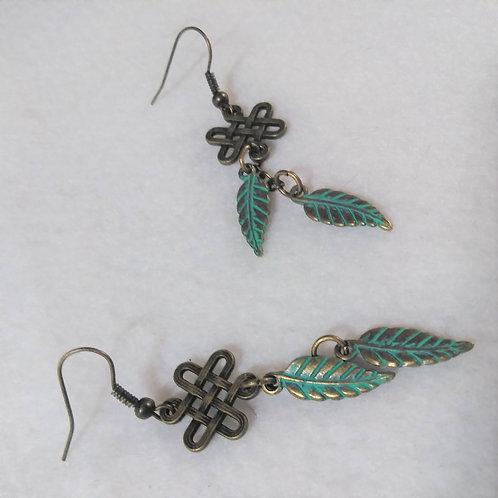 Green feather earrings | Copper 1