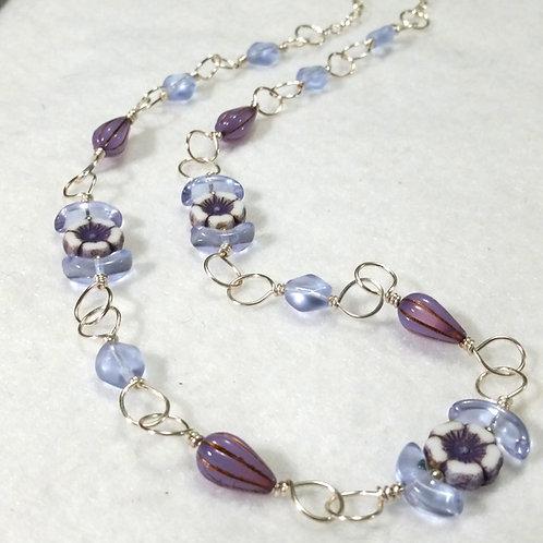 Purple Czech Glass Necklace | Flower