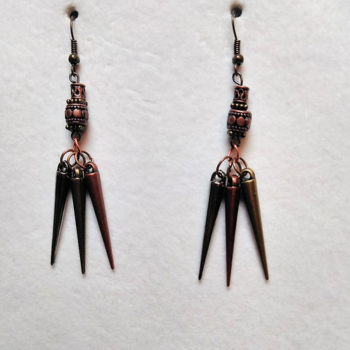Long Dangle Drop Gun Metal, Copper and Gold | THE NEW GREATNESS | Earrings (1)