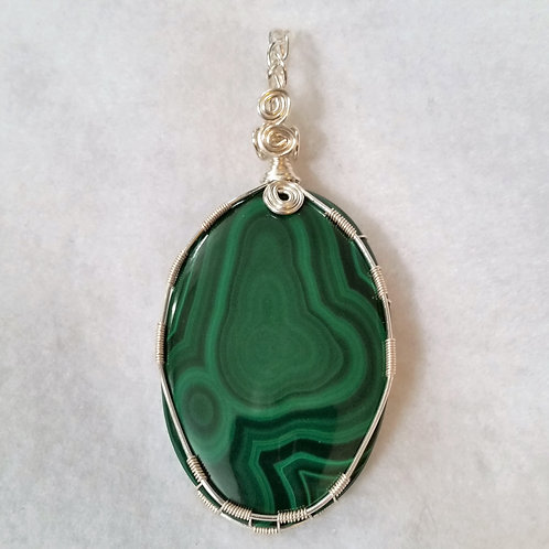 XL Malachite Wire Wrapped Pendant | Earth's Natural Art and Jewelry