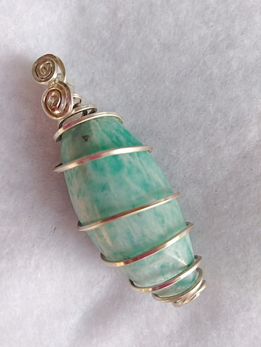 Apatite | Spiral Wire Wrapped Pendant | Jewelry