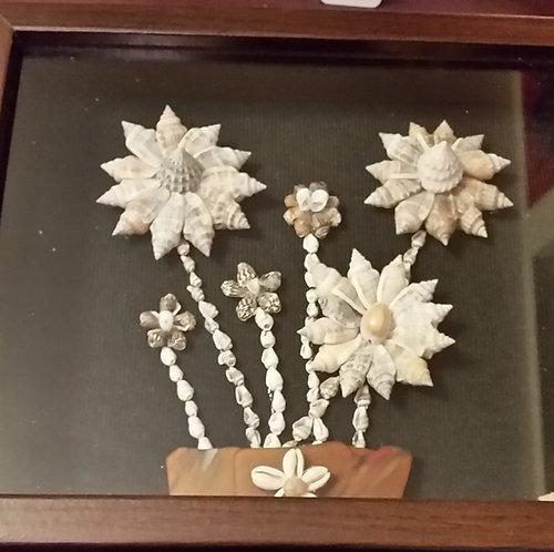 Framed seashell wall art- 6 shell flowers | sea-glass vase