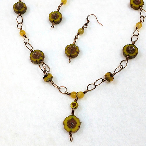 Czech Glass | Copper Wire Wrapped Jewelry | Necklace | Earring