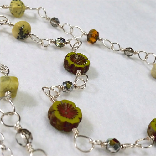 Olive Green Czech Glass Necklace | Earth | Flower