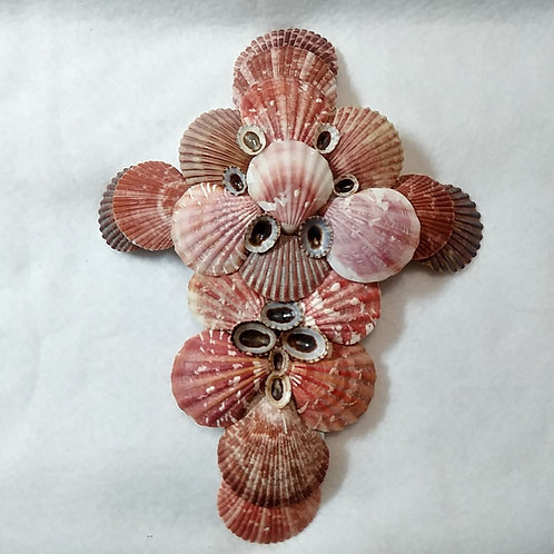 Crucifix | Red | Seashells | Religious Decor | Wall Cross
