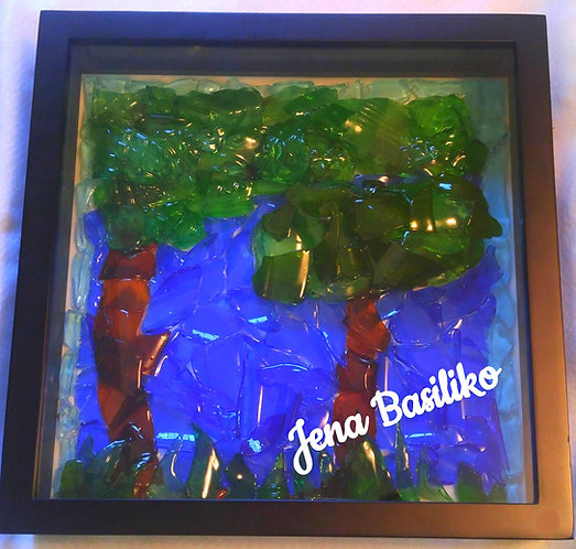 Glass Art | Two Trees Stand Alone...Together | 12 x 12