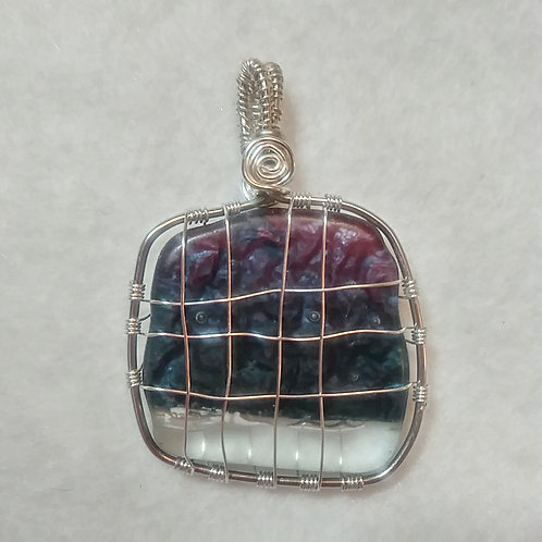 Dark Purple and Red Sea Glass| Wire Wrapped Pendant | Reversible