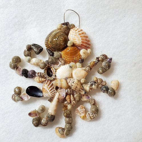 Octopus Ornament / Wall Hanger Covered with Seashells