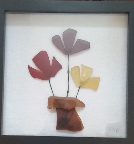 Glass Art | sea glass flowers | framed glass art | 9x9inch shadow box