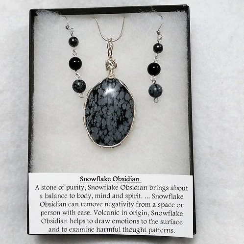 Snowflake Obsidian Wire Wrapped Pendant + Earrings Gift Set