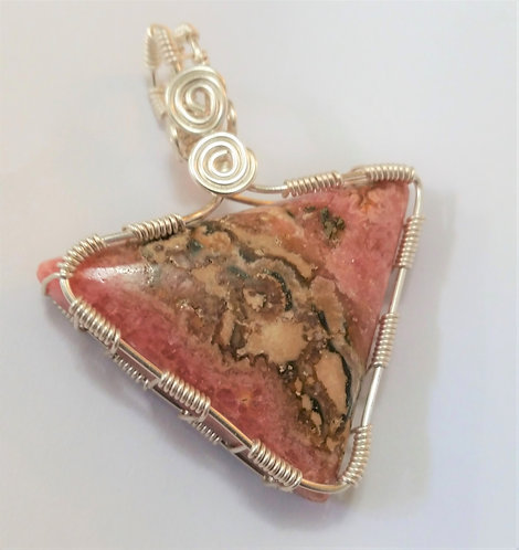Rhodochrosite | Wire Wrapped Pendant | Triangle  side view close up