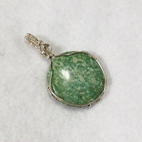 Chrysocolla | Light Green Wire Wrapped Pendant