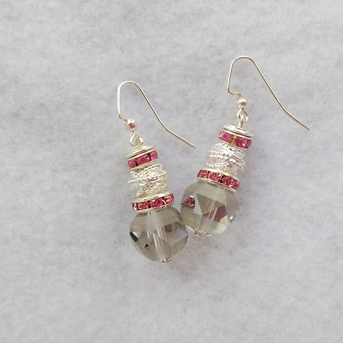 Striped Smoked Glass Earrings | Jewelry | Silver