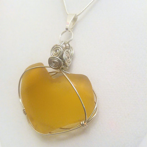 Valentine's Day Heart | Sea glass | Wire Wrapped Pendant