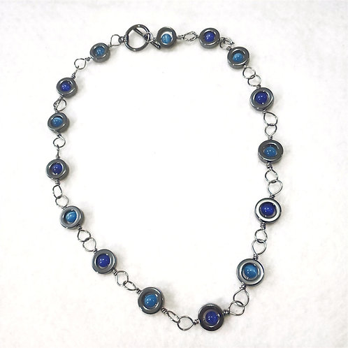 Gun Metal Hematite and Blue Cats Eye Wire Wrapped Necklace