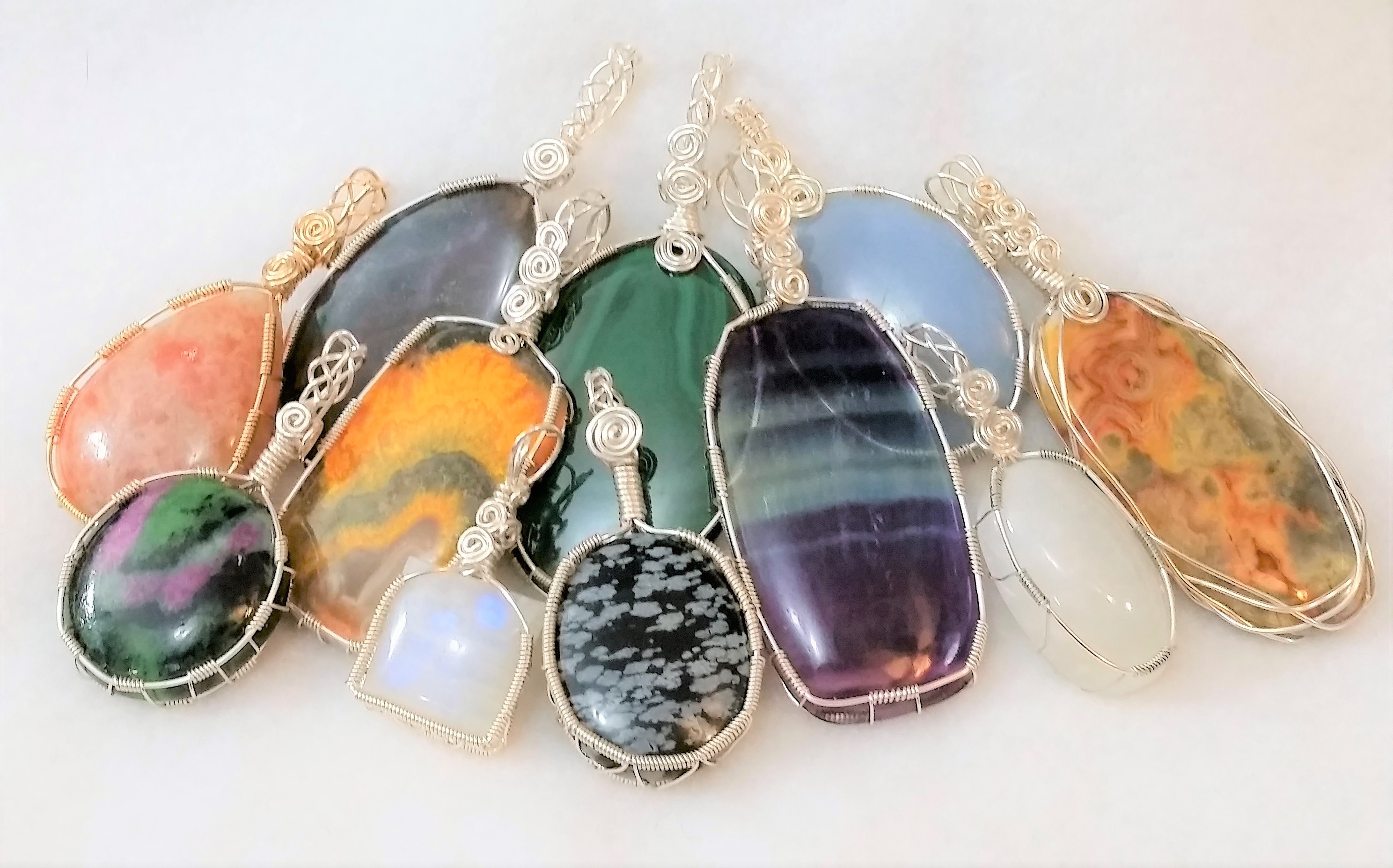 Wire Wrapped Gemstone Pendants