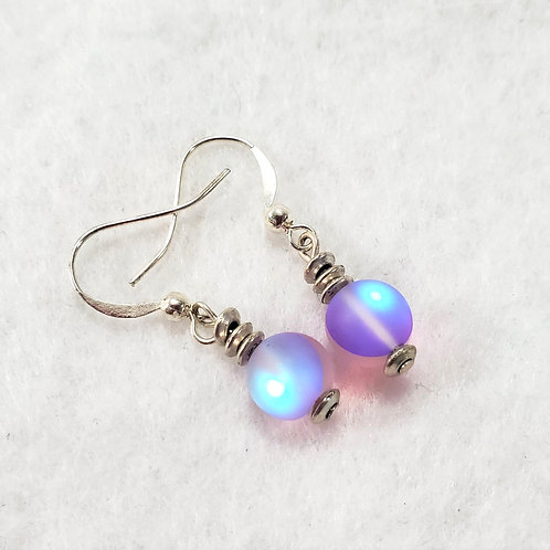 Frosted Purple Mermaid Earrings