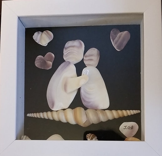 1st kiss | Shell Art | quahog / wampum seashells |7 x7 inch shadow box