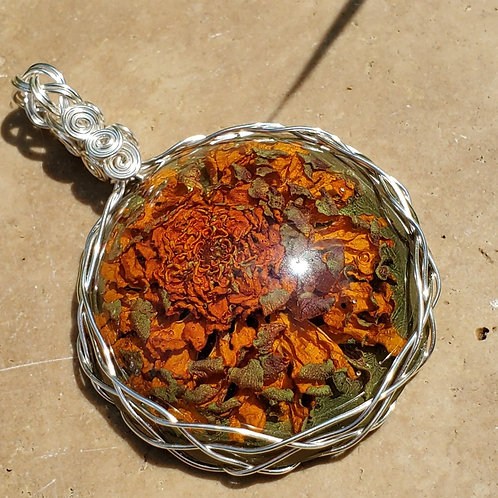 Orange Flower Necklace | Made with REAL flowers