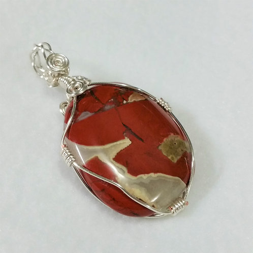 Red Silver Leaf Jasper Wire Wrapped Pendant