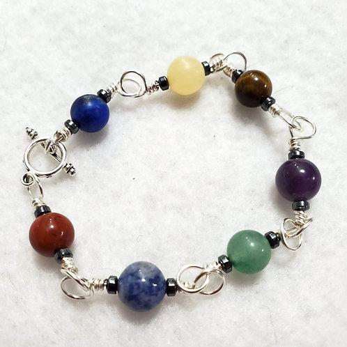 7 Chakra Wire Wrapped Bracelet