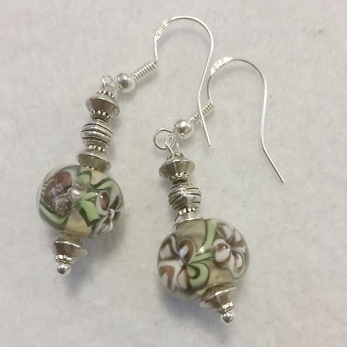 Lampwork flower bead earrings | Jewelry