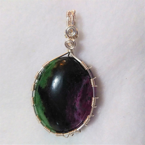 Anyolite Ruby Zoisite | Wire Wrappen Pendant - Front