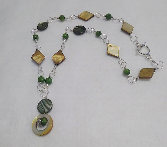 Green Wire Wrapped Shell / Stone Necklace