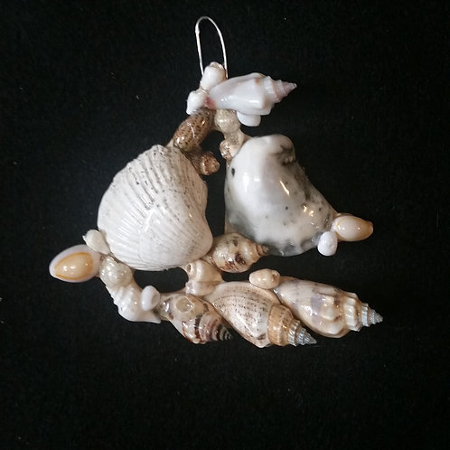 Sailboat Ornament / Wall Hanger Covered with Seashells