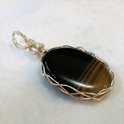 Bulls Eye Agate | Wire Wrapped Pendant | Jewelry
