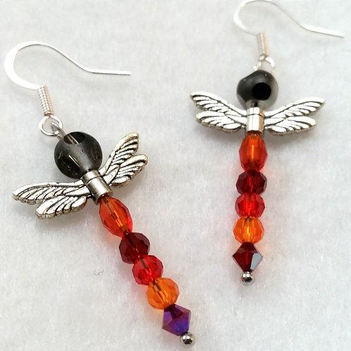 Red | Dragonfly | Earrings