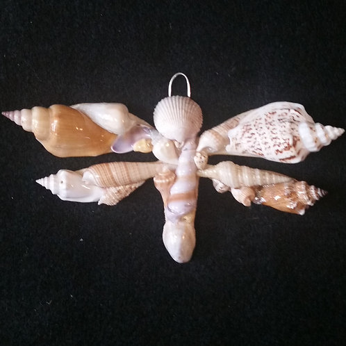 Dragonfly Ornament / Wall Hanger Covered with Seashells