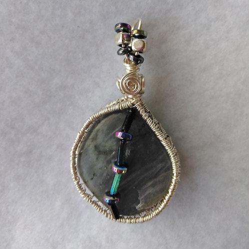 Labradorite | Wire Wrapped Pendant | Hematite Beads