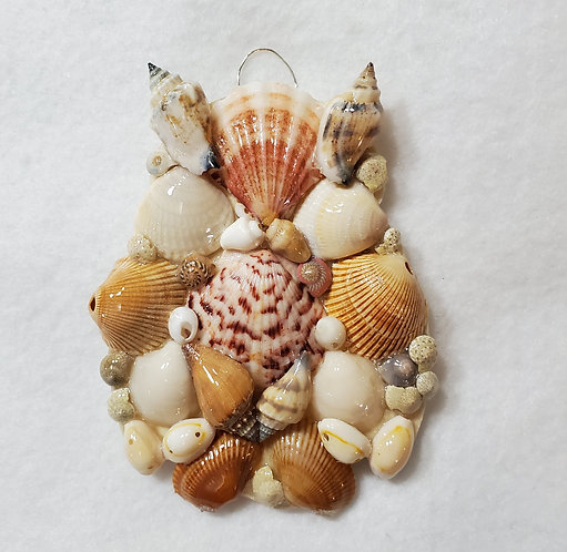 Owl Ornament / Wall Hanger Covered with Seashells