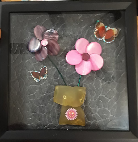 Flower Picture | sea glass vase | 9x9 inch shadow box | Art for children & teens-Pink & Purple flowers