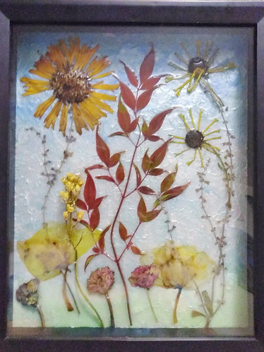 Earth Art | Natural Flowers | 3D Framed Art | Earth Natural Art and Jewelry, framed
